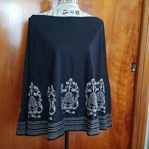Radaella Petites black embroidered skirt